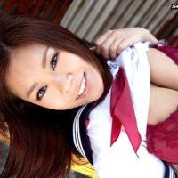 Uber-cute Oriental stunner Ria Sakuragi letting huge all natural boobs free from sailor uniform
