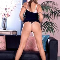 Sandy-haired MILF Kelly Kay displays her upskirt panties and then her butt-cheeks