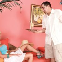 Hot 60 plus blonde babe Stormy Lynne spreads her great legs while seducing a younger man