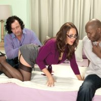 Hot mature MILF Raquel Sieb has sex with black and white men during MMF action