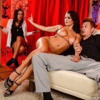Latina X-rated film star Keisha Grey taking anal sex in high heels while a mistress observes