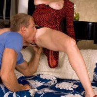 Leggy older MILF Karen Kougar has her thong pull aside before having her pussy licked