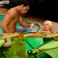 Mature blonde pornstar Raquel Sieb gives her hunky pool cleaner a poolside BJ