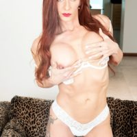 Natural redhead Gabby Lamb bares her thin middle-aged body during an amateur solo shoot