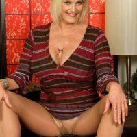 Older blonde Rose Marie has her big boobs fondled while wearing pantyhose
