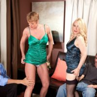 Older cougars Robin Pachino & Honey Ray seduce boys for a foursome on a couch
