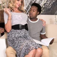 Magnificent granny Mia Magnusson gets poked doggystle after seducing an ebony stud