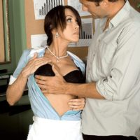 Sexy mature MILF Christina Cross seduces a younger man while at work in her cleaner's uniform