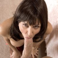 Sexy older brunette Jazz gives a ball sucking blowjob before 69 action in tan nylons