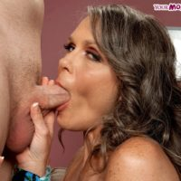 Silver haired granny Vixen Kitten gives a ball sucking BJ before being rimmed