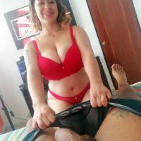 Tattooed Latina chick Sofia Santana looses her huge boobs during a POV handjob