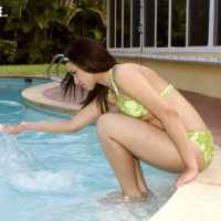 Teen amateur Missy Vega drips jizz from her chin after a poolside fuck with a voyeur