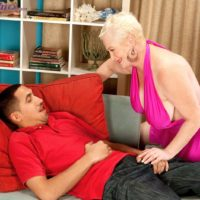 Thick platinum blonde granny Miriam Harding has her nipples licked by a Latino boy