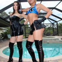 Fully clothed females Daisy Marina and Angel enjoy some CBT action with a masked male sub