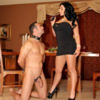 Dark-haired gf Bella Reese makes her male slave lick out her rectum in high-heeled shoes