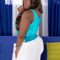 Ebony BBW Stacy Black has her enormous ass fondled in a bodysuit and high-heeled shoes