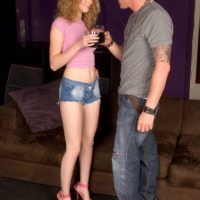 Leggy teen Marie McCray gives a blowjob over drinks after meeting a guy outdoors
