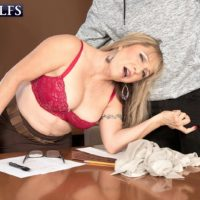 Over sixty instructor Luna Azul seduces a male student in her work environment
