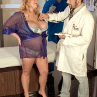 Pregnan blonde Sunshine having her monster-sized titties liberated by a male nurse befotre sex