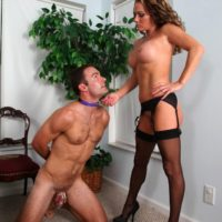 Submissive male is compelled to suck a faux penis after sniffing Allura Sky's muff and ass