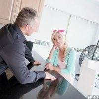 Young light-haired chick Eliza Jane deep-throats and pulverizes a man as old as her dad is
