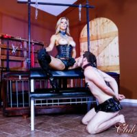 Bossy blonde type Alexis Fawx face screwing her sissy hubby with a strapon in spandex boots