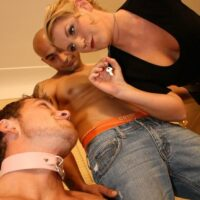 Collared subby hubby forced to blow a gigantic cock by his golden-haired wife Ashley Edmunds