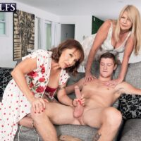 Grandma XXX adult starlet Luna Azul and a nan buddy of hers unbuckle and blow a younger dude
