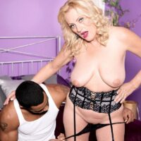 Mind-blowing senior dame Lady Dulbin entices a younger stud in a sexy lingerie ensemble