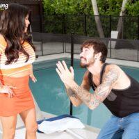 Busty Latina MILF Isabella Flames gives a ball sucking blowjob prior to a vaginal fuck