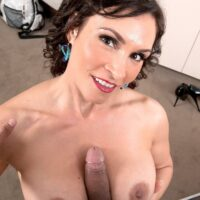 Mature MILF Raven LeChance gets completely naked during a POV handjob and tit fuck