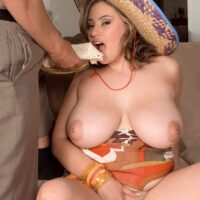 Big titted Latina chick Selena Castro has sex with a guy while eating at the same time
