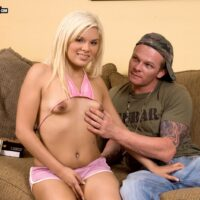 Petite blonde teen Syndi Fox engages in oral and vaginal sex with a guy she just met