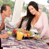 Long-haired MILF Patty Michova has her large tits groped and sucked on over breakfast