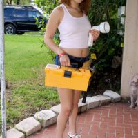 Cute redhead Sonny Blaize engages in sexual intercourse after a plumbing repair job