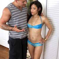 Tiny brunette Jayla Starr launches her pornstar career with a BJ before riding a cock