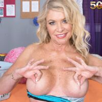 Sexy mature blonde Lauren Taylor gets totally naked while trying on different outfits