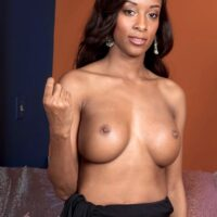 Busty black chick Atlantis removes a long black dress before sex with a big white cock
