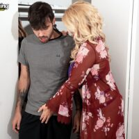 Busty blonde cougar Lily Craven seduces a young boy before they have sex on his bed