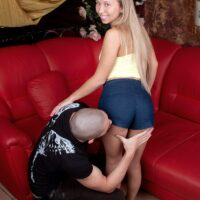 Barely legal blonde Nastya is stripped naked prior to getting on top of a cock