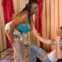 Ebony stripper Mianna Thomas unveils her humungous titties in nylons and garters