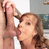 Mature MILF Cyndi Sinclair gets caught masturbating before sex with a young man