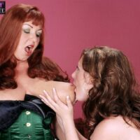 Huge-boobed senior lesbos Angela White and Cherry Brady play lezdom games in lingerie