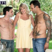 Thick 60 plus blonde Mia Magnusson entices the younger gardeners for a round of MMF sex