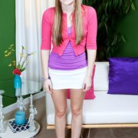 Barely legal first timer Cassidy Ryan sets her flat chest free from a brassiere