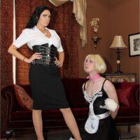 Dark-haired chick Emmanuelle London humiliates her crossdressing sissy maid