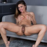 Thin brunette amateur Chloe R spreads her fur covered slit after pantyhose removal