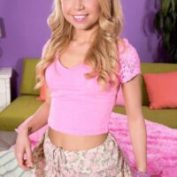 Light-haired amateur Alina West has her petite teenager breasts exposed before nipple play