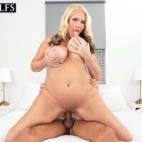 Hot older blonde Maddie Cross takes her younger lover's cock inside her filthy asshole