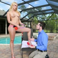 Lengthy legged golden-haired woman Vanessa Cage makes her husband wear a collar while worshiping her